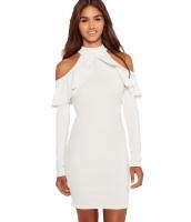 ホワイト フリル コールドショルダー 長袖 ドレス cc22833-1