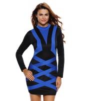 コントラスト ブルー アクセント 長袖 ブラックショート ドレス cc22836-5