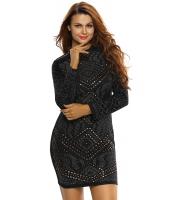 ブラック ミニ ジュエリー 高品質 長袖 ドレス cc22838-2