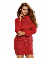 レッド ミニ ジュエリー 高品質 長袖 ドレス cc22838-3