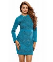 ブルー ミニ ジュエリー 高品質 長袖 ドレス cc22838-5