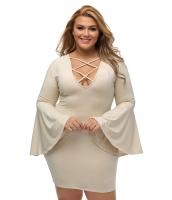 ライト カーキ 大きいサイズ ケージ フレア 袖 ドレス cc22844-16