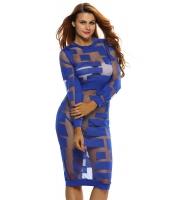 ロイヤル ブルー メッシュ パッチワーク 長袖 ドレス cc22846-5