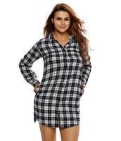 ブラック ホワイト 格子・縞模様 長袖 シャツ ドレス cc22848-1