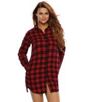 ブラック レッド 格子・縞模様 長袖 シャツ ドレス cc22848-3