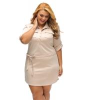 カーキ 大きいサイズ ベルト付き テクスチャー シャツ ドレス cc22849-16