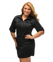 ブラック 大きいサイズ ベルト付き テクスチャー シャツ ドレス cc22849-2