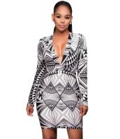 ブラック ホワイト グラフィック プリント 長袖 ドレス cc22859-22