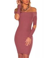 ピンク うねあり ニット オフショルダー カットアウト 長袖 ドレス cc22875-10