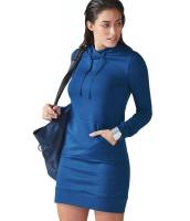 ブルー スリム フィット ポケット フロント パーカー ミニドレス cc22876-5