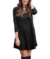 ブラック ベスト ケージ フロント 3/4 袖 ブラウス ドレス cc22887-2
