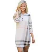 ベージュ 格子・縞模様 ロールアップ 袖 アーチ形 裾周り ドレス cc22890-15