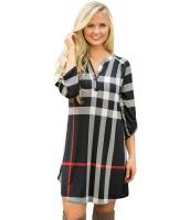 ブラック 格子・縞模様 ロールアップ 袖 アーチ形 裾周り ドレス cc22890-2