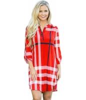 レッド 格子・縞模様 ロールアップ 袖 アーチ形 裾周り ドレス cc22890-3