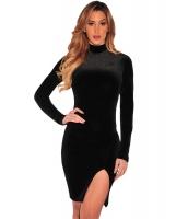 ブラック ベルベット モック ネック 長袖 ドレス cc22894-2