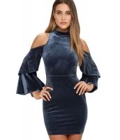 ブルー コールドショルダー ベルスリーブ ベルベット ドレス cc22895-5