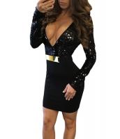 ブラック シークイン プランジング トップス ベルト付き 長袖 ドレス cc22905-2