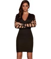 ホローアウト 長袖 ブラックショート ドレス cc22915-2