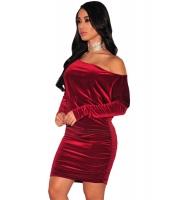 ワインレッド ベルベット オフショルダー シャーリング ドレス cc22936-3