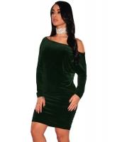 グリーン ベルベット オフショルダー シャーリング ドレス cc22936-9