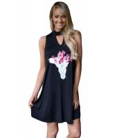 花柄 キーホール フロント カジュアル タンクトップ ドレス cc22956-2
