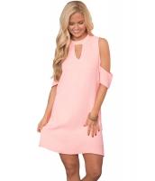 ピンク 巧み キーホール & コールドショルダー ドレス cc22963-10