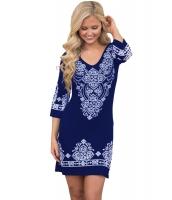 ネイビー ブルー 原住民 柄 ショート ドレス cc22965-5
