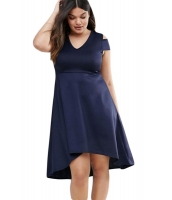 ネイビー ブルー 大きいサイズ オープンショルダースケーター ドレス cc22977-5