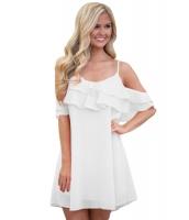 ホワイト フリル ダブルレイヤー ショート ドレス cc22978-1