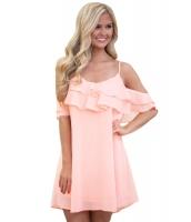 ピンク フリル ダブルレイヤー ショート ドレス cc22978-10