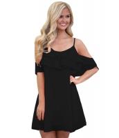 ブラック フリル ダブルレイヤー ショート ドレス cc22978-2