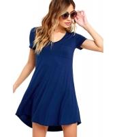 ブルー トレンディ スイートハート ネック ポケット シャツ ドレス cc22985-5