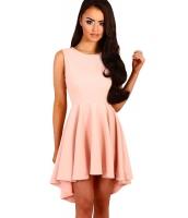 ピンク プリーツ ハイロー 裾周り ノースリーブ・袖なし スケーター ドレス cc22989-10