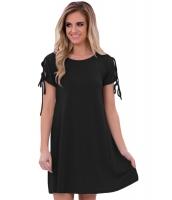 ブラック 真夜中 & レースアップ 半袖 カジュアル ドレス cc22990-2