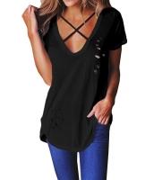 ブラック クリスクロス ネックライン アンティーク調 コットン Tシャツ cc250013-2
