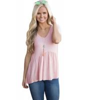 ピンク スイートハート ネックライン ベビードール スタイル Tシャツ cc250022-10