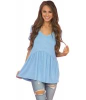 ライト ブルー スイートハート ネックライン ベビードール スタイル Tシャツ cc250022-4