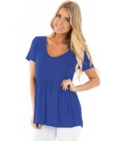 ブルー スイートハート ネックライン ベビードール スタイル Tシャツ cc250022-5