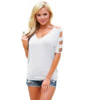 ホワイト コールドショルダー シャーリング サイド Tシャツ cc250027-1