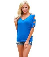 ブルー コールドショルダー シャーリング サイド Tシャツ cc250027-5