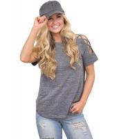 グレー クリスクロス 入り 半袖 Tシャツ cc250039-11