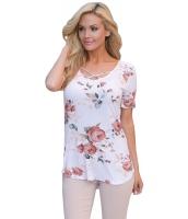 ホワイト 超柔らか 花柄 Tシャツ クロスネック cc250050-1