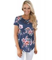 チャコール 半袖 丸首 花柄 レディース Tシャツ cc250067-11
