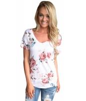 ホワイト 花柄 Vネック 半袖 Tシャツ cc250078-1