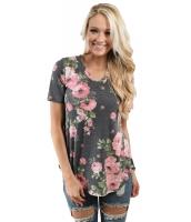 グレー デニム 花柄 Vネック 半袖 Tシャツ cc250078-11