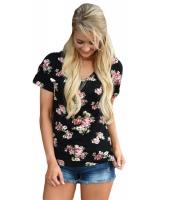 ブラック 花柄 Vネック 半袖 Tシャツ cc250078-2