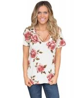 ストラップ ネック 入り ホワイト 花柄 半袖 Tシャツ cc250096-1