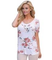 ストラップ ネック 入り ライト 花柄 半袖 Tシャツ cc250096-101