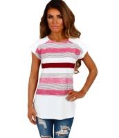 ホワイト & ピンク マルチ ストライプ 女性 Tシャツ cc250097-10