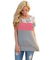 花柄 ピンク グレー パチワーク Tシャツ cc250107-10